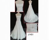 J1451  elegant lace mermaid lace up back wedding gown