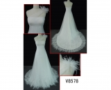 V8578 latest design one-shoulder white wedding gown
