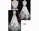 T481 Floor length a-line strapless tulle wedding gown with a ribbon belt