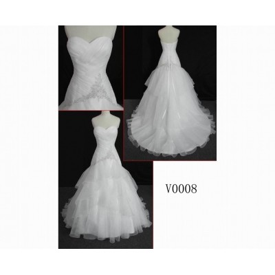 V0008 sweetheart neckline 2013 hot sell delicate customize latest good workmanship Guangdong fashion wedding dress