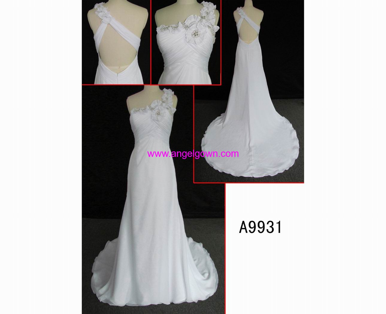 A9931 low back one-shoulder chiffon sexy wedding gown with handmake flowers