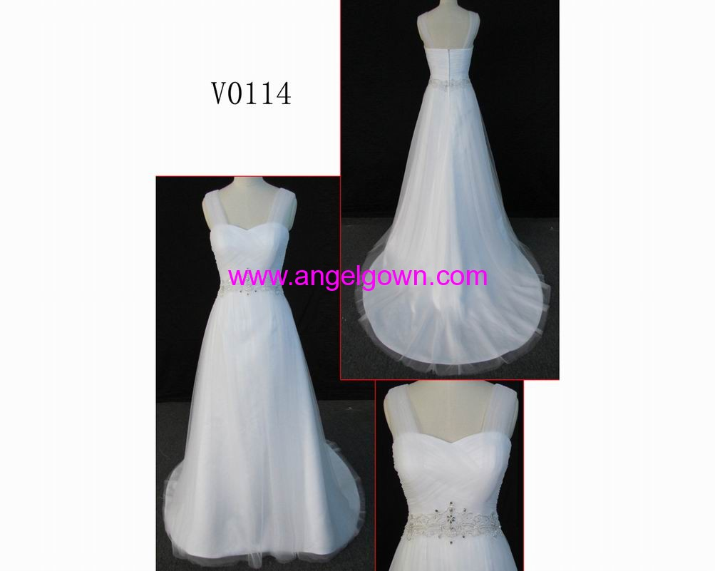 V0014 sexy real made spaghetti strap guangdong design wedding dress