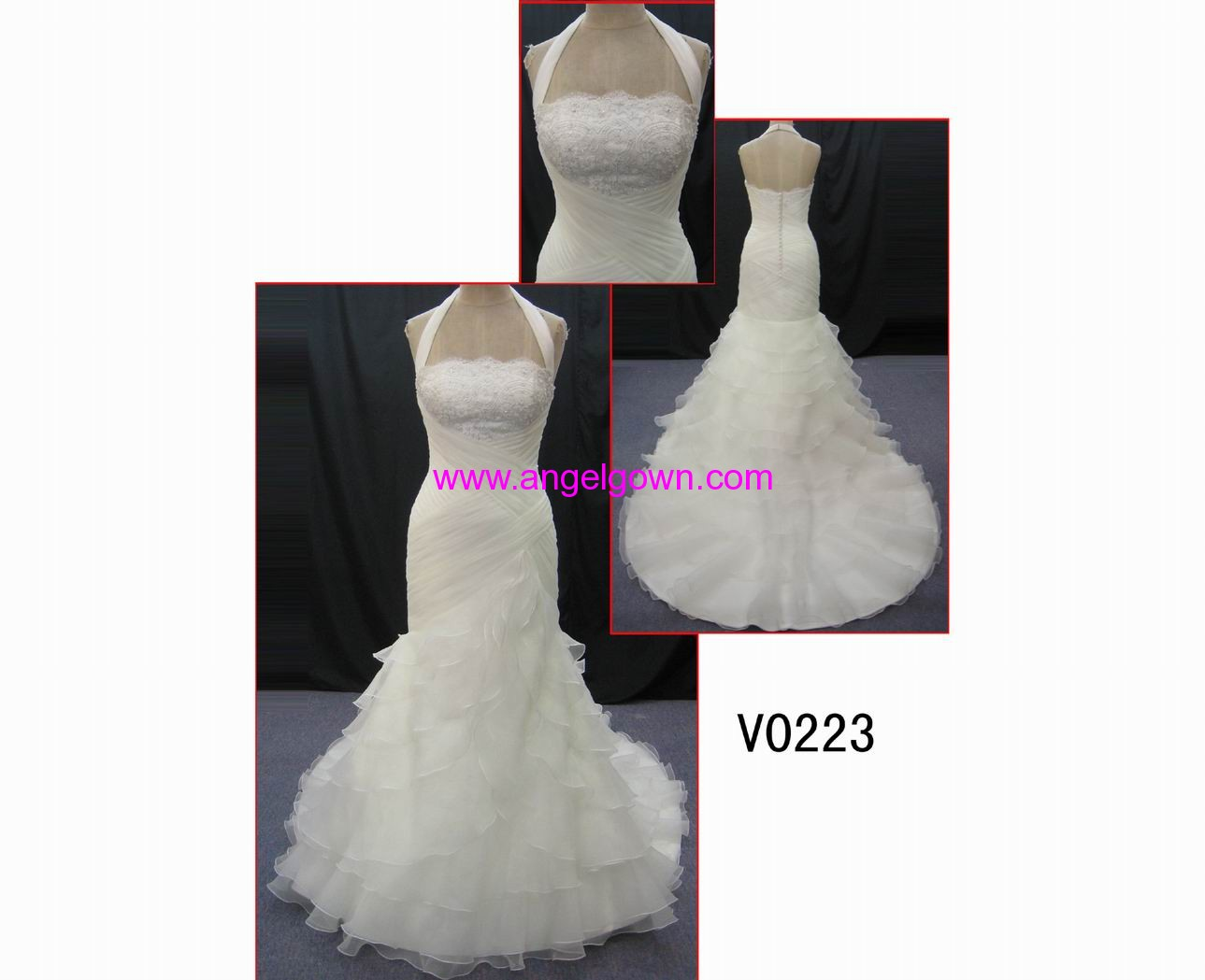 V0223 beautiful pleats beaded lace halter guangdong designguangdong design