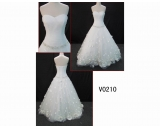 V0210 custom made Strapless sweetheart bridal apparel with petal flowers and pleated bodice