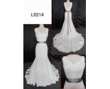 L0214 lace mermaid with sash V neck line customized hot sell wedding dress Guangzhou Panyu wholesale price bridal gown wedding dress