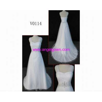 V0014 sexy real made spaghetti strap guangdong design wedding dress
