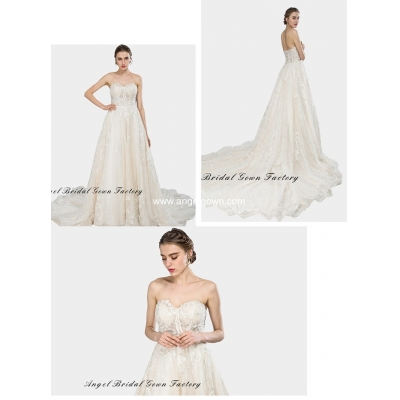 elegant sweetheart neckine lace wedding gown