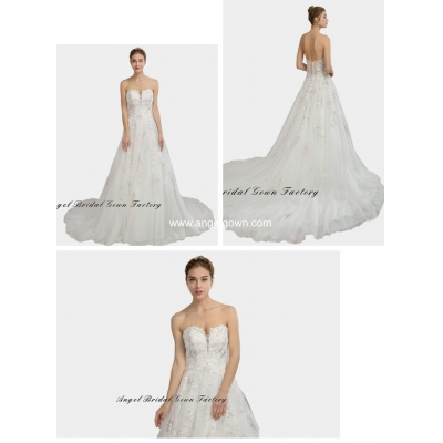 elegant sweetheart neckine lace wedding gown8